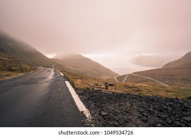 Foggy Road on Faroe Islands