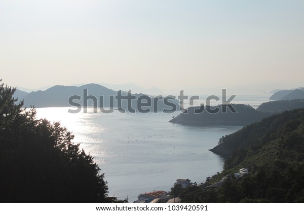 Foggy sea island
