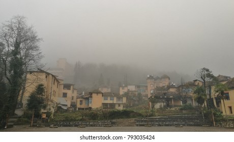 Foggy sky in the old city, Yuanyang province, China
