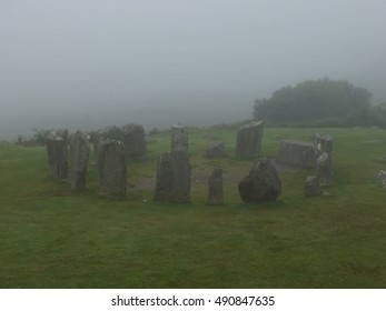 Foggy stone circle in Ireland