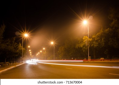 Foggy street at night on Vung Tau city, Vietnam, 11/09/2017 Using long exposure photography technique