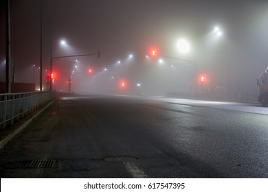 Foggy street with nobody in the suburb