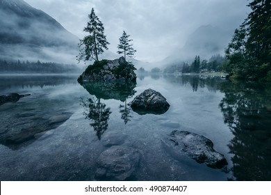 Foggy Sunrise Hintersee, Bavaria, Germany