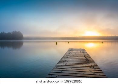 Foggy Sunrise at lake Schwarzer See - Mecklenburgische Seenplatte in Germany