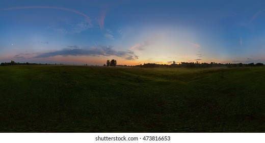 Foggy sunrise on meadow full spherical panorama. 360 by 180 degree angle of view in equirectangular projection. May be used in virtual reality or 3D-graphics content as photorealistic background.