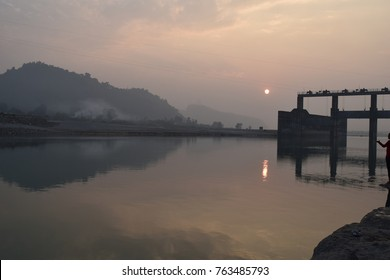 Foggy Sunset on the banks of the River Yamuna in Paonta Sahib, Himachal Pradesh, India