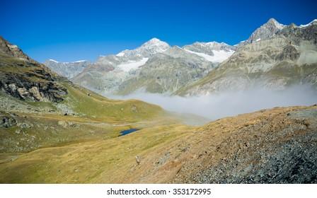 Foggy valley in the mountens, Schwarzsee, Zermatt