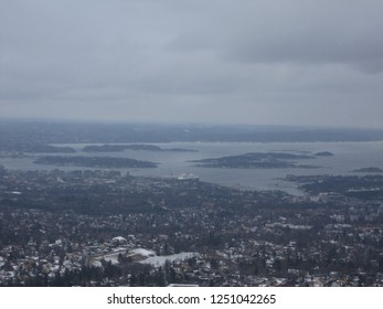 Foggy view over Oslo from Holmenkollen hill in the Winter - Norway