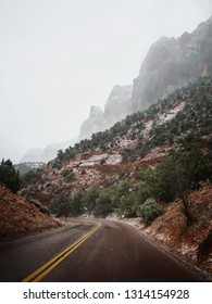 Foggy winter day in beatiful scenic zion national park, Utah.
