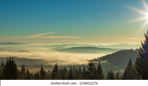 fogs in the valleys of the Tatra Mountains, Poland