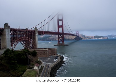 Fog-topped Golden Gate Bridge from the San Francisco viewpoint.