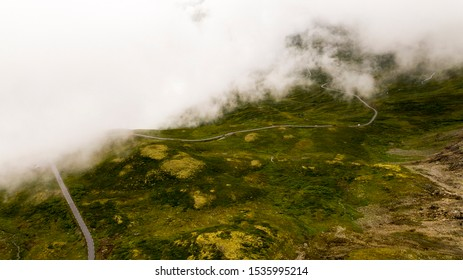 Fogy mist road in Norway 1400 meters over sealevel