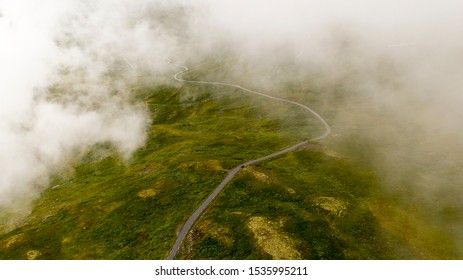 Fogy road in Norway 1400 meters over sealevel