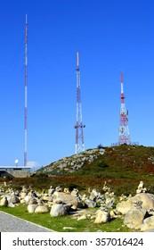 Foia, Algarve, Portugal - October 3, 2014: Foia telecommunication station on top of the highest mountain in Algarve