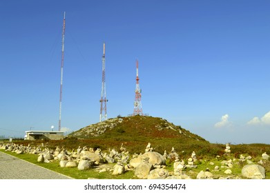 Foia, Algarve, Portugal - October 3, 2014 : Foia telecommunication station on top of the highest mountain in Algarve