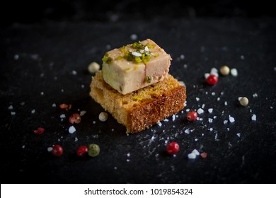 Foie gras appetizer on toast
