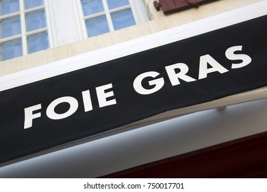 Foie Gras Pate Sign on Shop Front