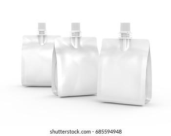 Foil bag for drink or food, blank foil bag mockup for beverage design in 3d rendering, three isolated on white background
