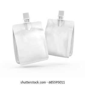 Foil bag for drink or food, blank foil bag mockup for beverage design in 3d rendering, two floating in the air