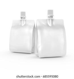 Foil bag for drink or food, blank foil bag mockup for beverage design in 3d rendering, two isolated on white background