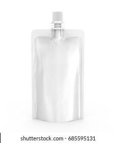Foil bag for drink or food, blank foil bag mockup for beverage design in 3d rendering, isolated on white background