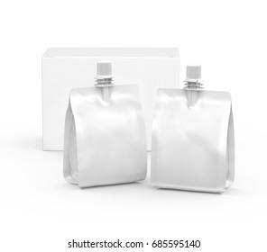 Foil bag for drink or food, blank foil bag mockup for beverage design with blank paper box in 3d rendering