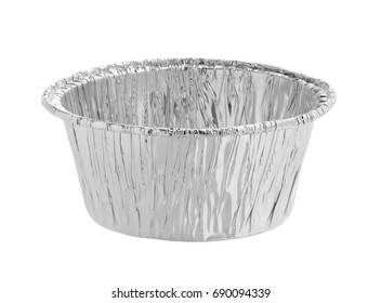 Foil cup isolated on white background