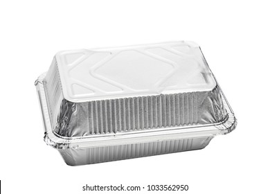 Foil food delivery container isolated over the white background