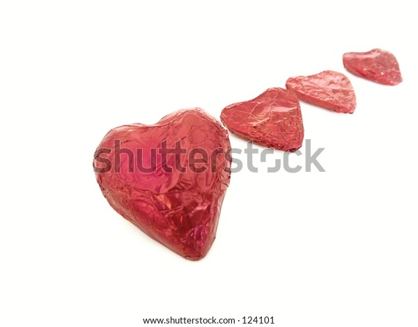 foil hearts,isolated