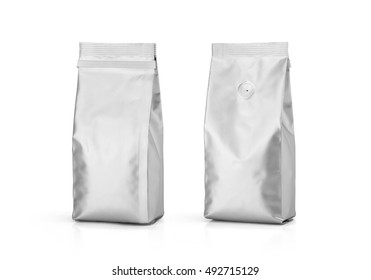 Foil plastic paper bag front and back view isolated on white background. Packaging template mockup collection. With clipping Path included. Aluminium coffee package.