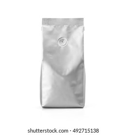 Foil plastic paper bag front view isolated on white background. Packaging template mockup collection. With clipping Path included. Aluminium coffee package.