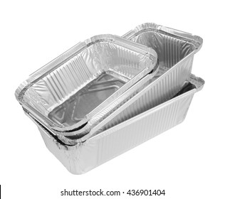 Foil tray for food on a white background