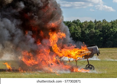 Fokker E III airplane replica burning after explosion