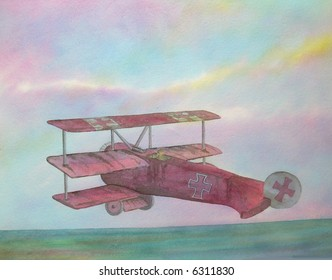 "Fokker Tri-Plane (Red Baron), Germany # 95-032; 28x43 cm. = 11""x17"""