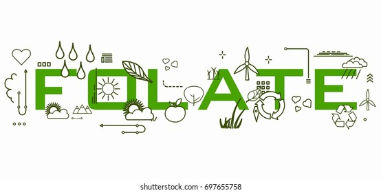 Folate word with icons.