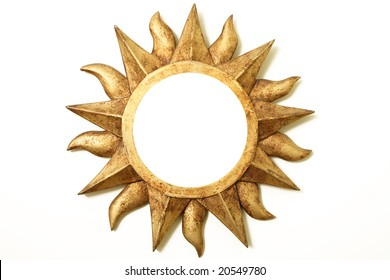 fold frame in round star shape over white wall