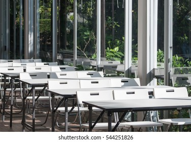 Fold table in the restaurant