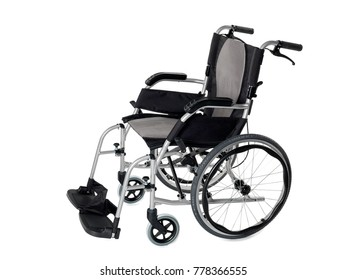 Foldable lightweight grey and black wheelchair on white background.