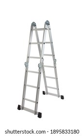 foldable metal ladder isolated on white background