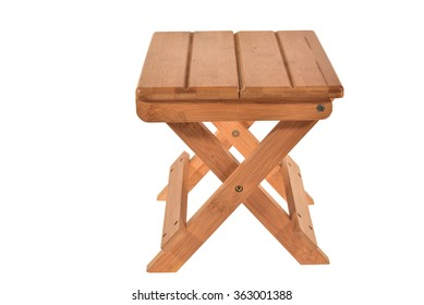 Foldable Wooden Stool Isolated On White Background