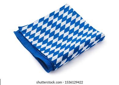 Folded bavarian napkin isolated on white background. Photo taken by stacking method