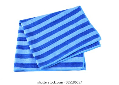 Folded Beach Towel, striped cloth set isolated on white background.