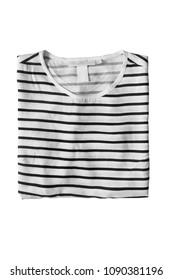 Folded black and white striped shirt on white background