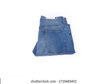 folded Blue Denim jeans trouser isolated over white background-back view