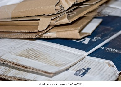 Folded cardboard used boxes recycle material