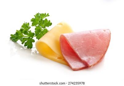 Folded cheese and ham with fresh green parsley