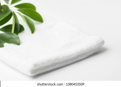 Folded clean white fluffy terry towel green house plant in bathroom. Minimalist airy style. Women's baby hygiene laundry body care wellness well-being concept. Copy space