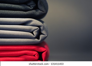 Folded cloths stack with space for text