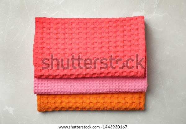 Folded Colorful Kitchen Towels On Grey Stock Photo Edit Now 1443930167