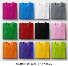 Folded colorful t-shirts on white background. - Shutterstock ID 1789750535